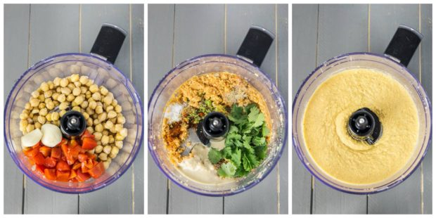 Overhead collage shots of the a food processor bowl filled with the ingredients to make Fajita Flavored Hummus - collage of the steps to make Fajita Hummus recipe.