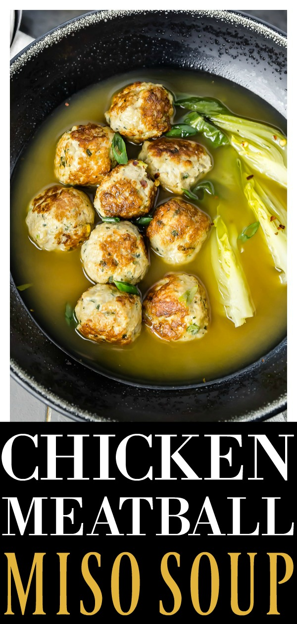 Easy Ginger Chicken Meatball Miso Soup | Ginger chicken meatballs and bok choy in miso broth make for a light, healthy yet seriously satisfying soup. Bursting with flavor, this soup is the perfect way to cozy up and stay warm! #chicken #meatball #miso #soup #recipe #healthy
