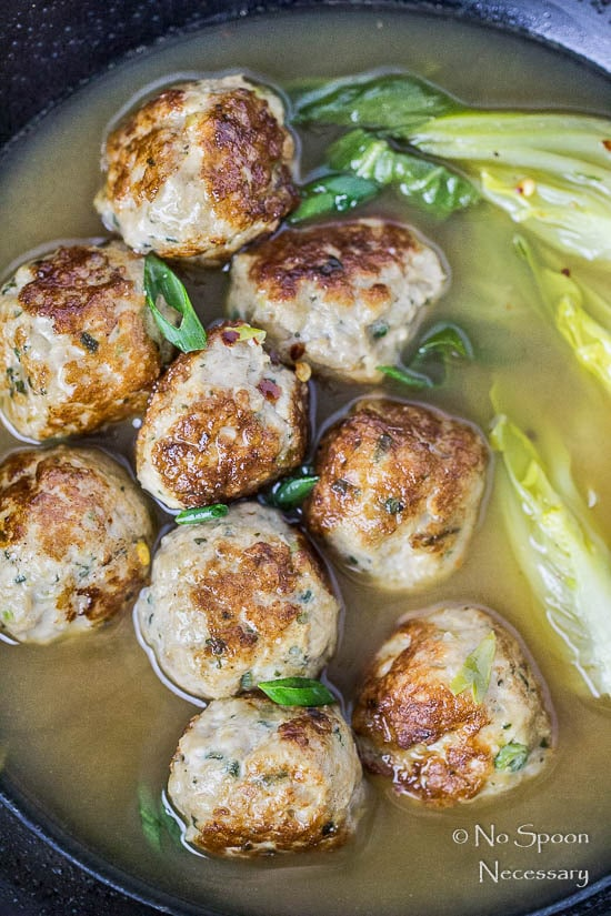 Ginger Chicken Meatballs with Bok Choy in Miso Broth-19
