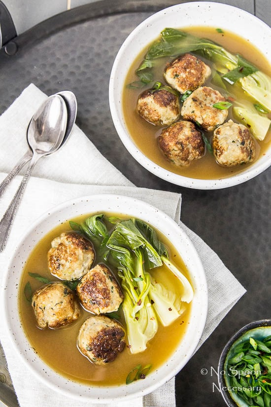 Ginger Chicken Meatballs with Bok Choy in Miso Broth-37