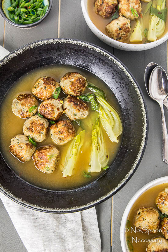 Ginger Chicken Meatballs with Bok Choy in Miso Broth-40