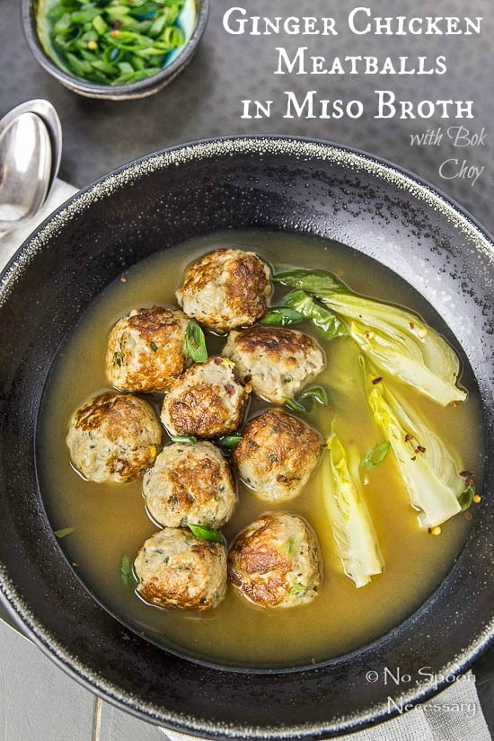 Ginger Chicken Meatballs with Bok Choy in Miso Broth- short pin2