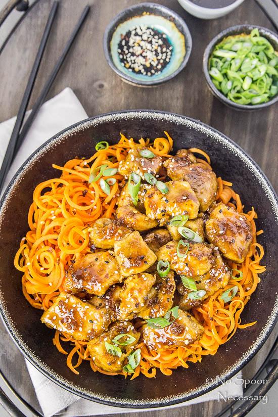 Honey Garlic Ginger Chicken Carrot Noodle Bowls-28