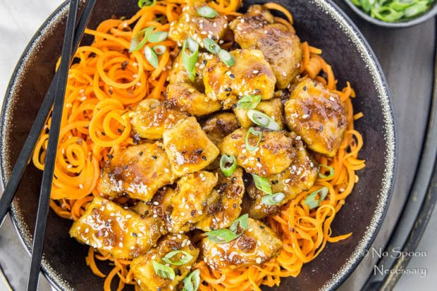 Honey Garlic Ginger Chicken Carrot Noodle Bowls-48