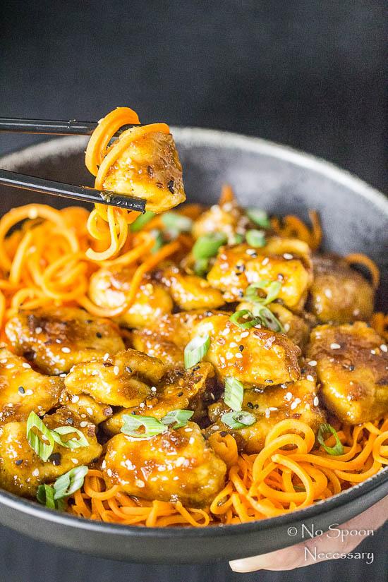 Honey Garlic Ginger Chicken Carrot Noodle Bowls-94