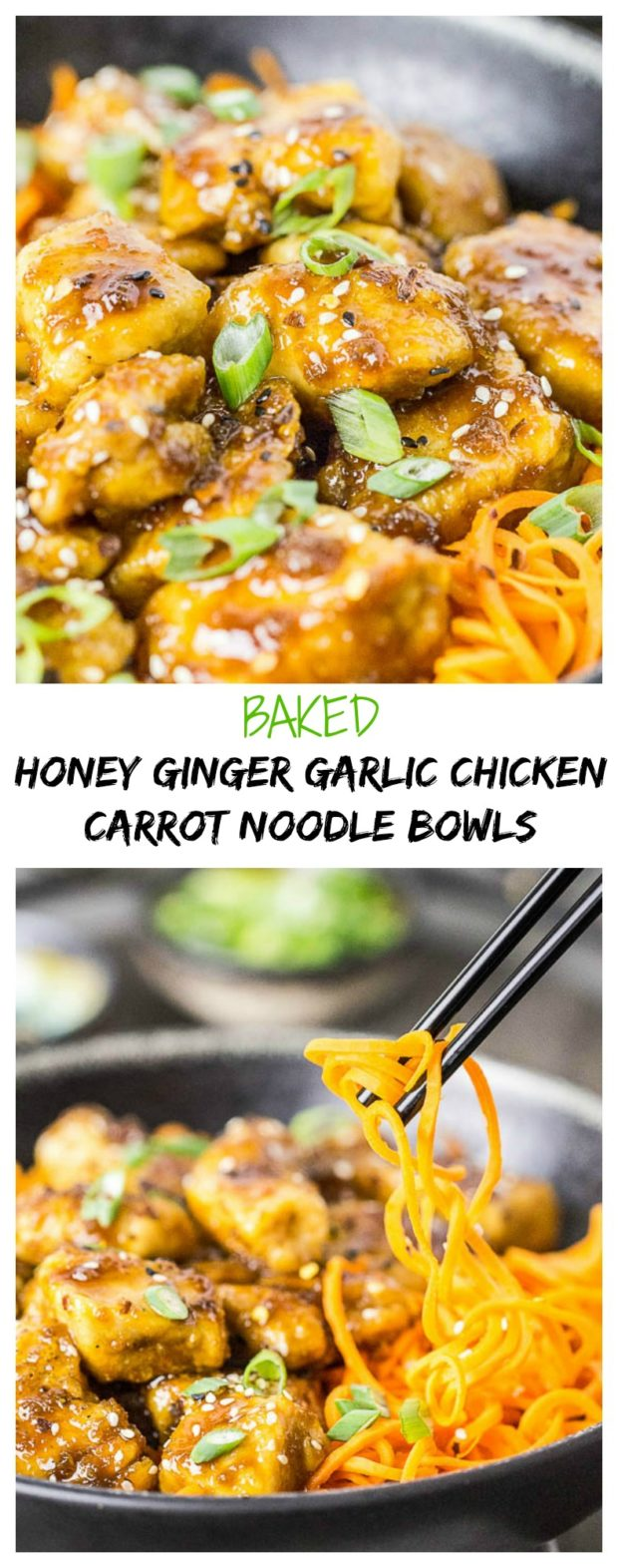 Honey Garlic Ginger Chicken Carrot Noodle Bowls-long pin