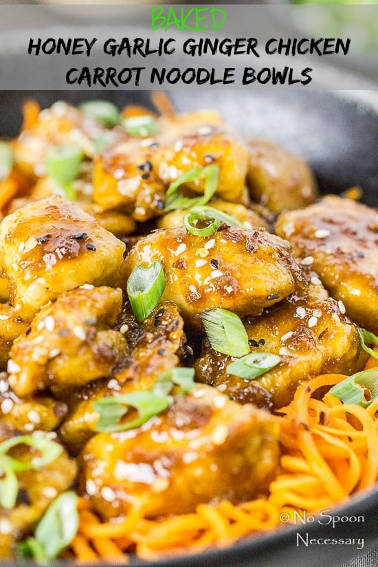 Honey Ginger Garlic Chicken Carrot Noodle Bowls - No Spoon Necessary