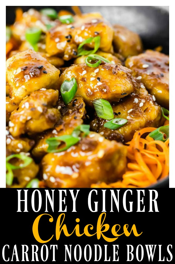 Sticky, sweet and savory crispy baked Honey Ginger Garlic Chicken over crunchy spiralized strands of carrot noodles are a match made in healthy, fake-out take-out heaven! Easy to prepare and even easier to devour! #honey #ginger #garlic #chicken #carrot #noodles #bowl #healthy #baked #recipe