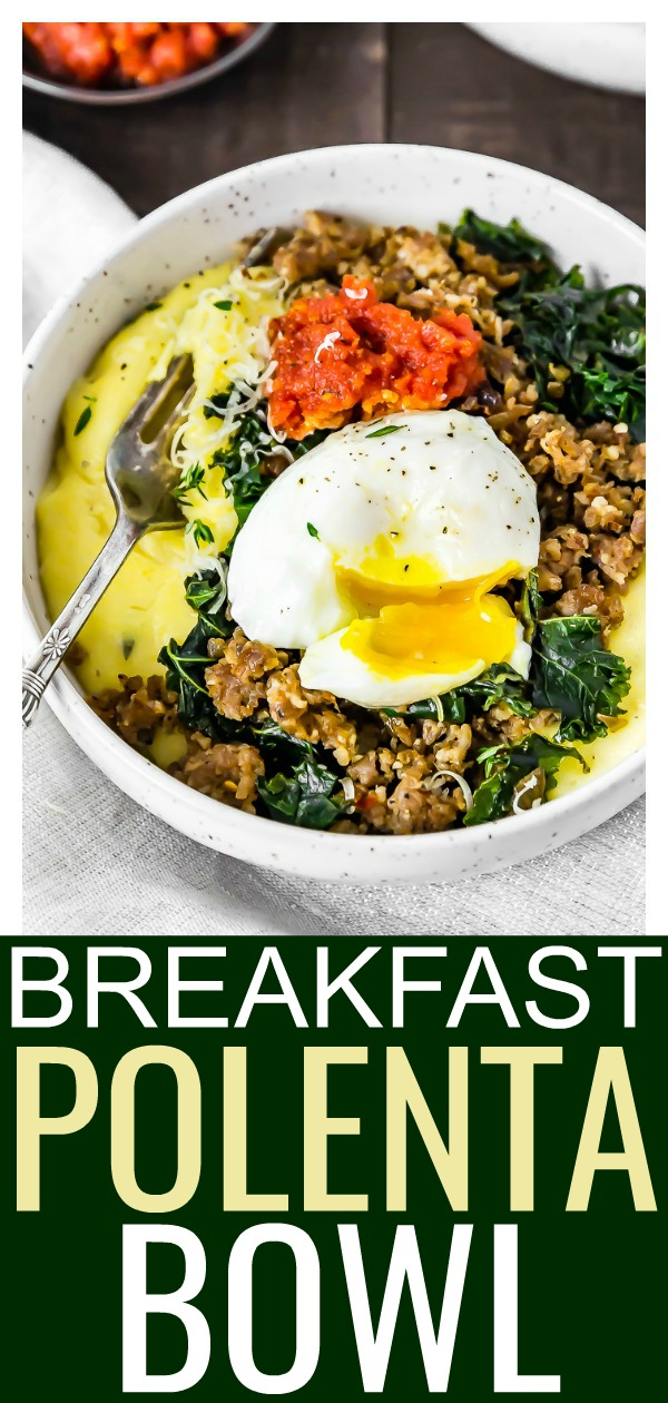 Breakfast Polenta Bowls   These bowls are loaded with cheesy polenta, maple sausage, and tender kale. Topped with a silky poached egg and rich sun-dried tomato pesto, these bowls are cozy breakfast perfection! #breakfast #brunch #egg #polenta #easy #recipe
