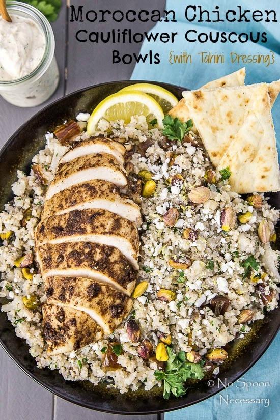 Moroccan Chicken Cauliflower Couscous Bowls- short pin3