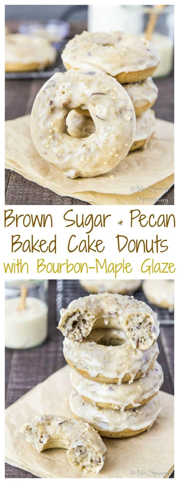 Brown Sugar & Pecan Baked Cake Donuts with Bourbon Maple Glaze-long pin4