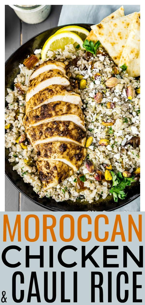 These Easy Moroccan Chicken Cauliflower Couscous Bowls are healthy and delicious! Packed with savory, Moroccan spiced tender chicken breast, fluffy cauliflower couscous, salty pistachios, pungent feta cheese, sweet dates and finished with a creamy yogurt-tahini dressing. #Moroccan #chicken #cauliflower #couscous #healthy #recipe