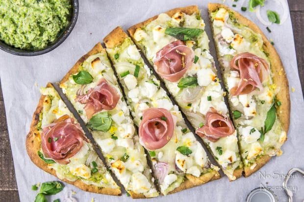 Naan Pizza with Asparagus Pesto, Prosciutto, Goat Cheese & Fontina-110