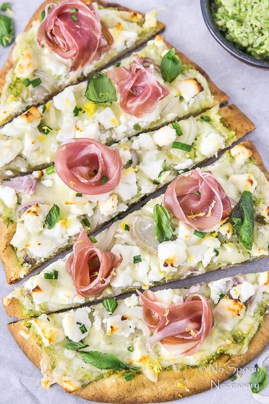 Naan Pizza with Asparagus Pesto, Prosciutto, Goat Cheese & Fontina-118