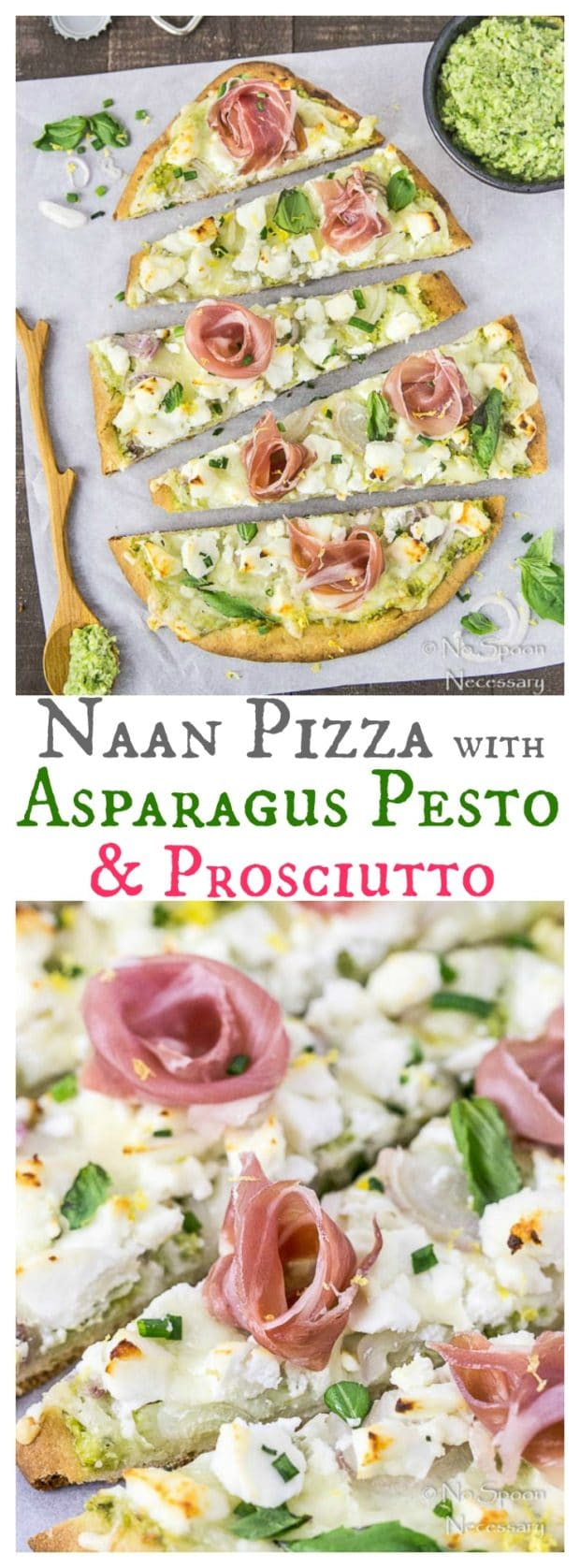 Naan Pizza with Asparagus Pesto, Prosciutto, Goat Cheese & Fontina-long pin 2