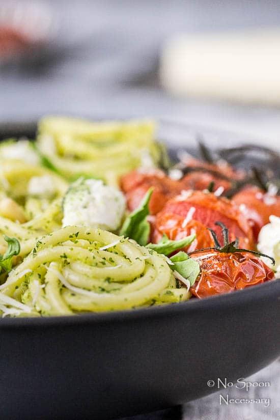 Arugula Pesto Pasta with Tomatoes & Burrata - No Spoon Necessary