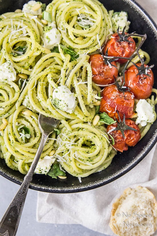 Arugula Pesto Pasta with Blistered Tomatoes & Burrata-212