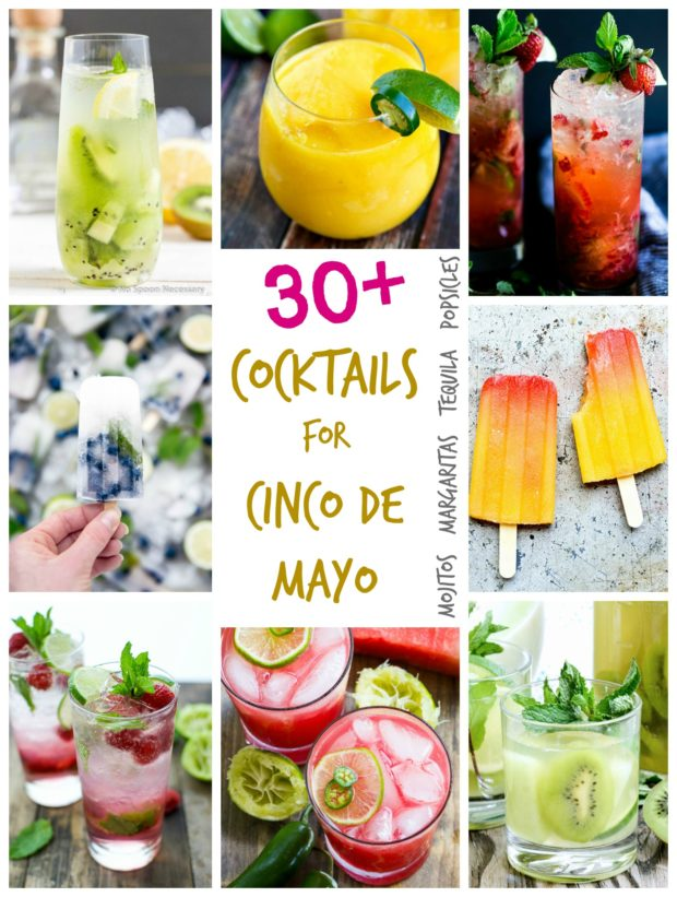 A collage of colorful fruity cocktails and Popsicles that celebrate Cinco de Mayo