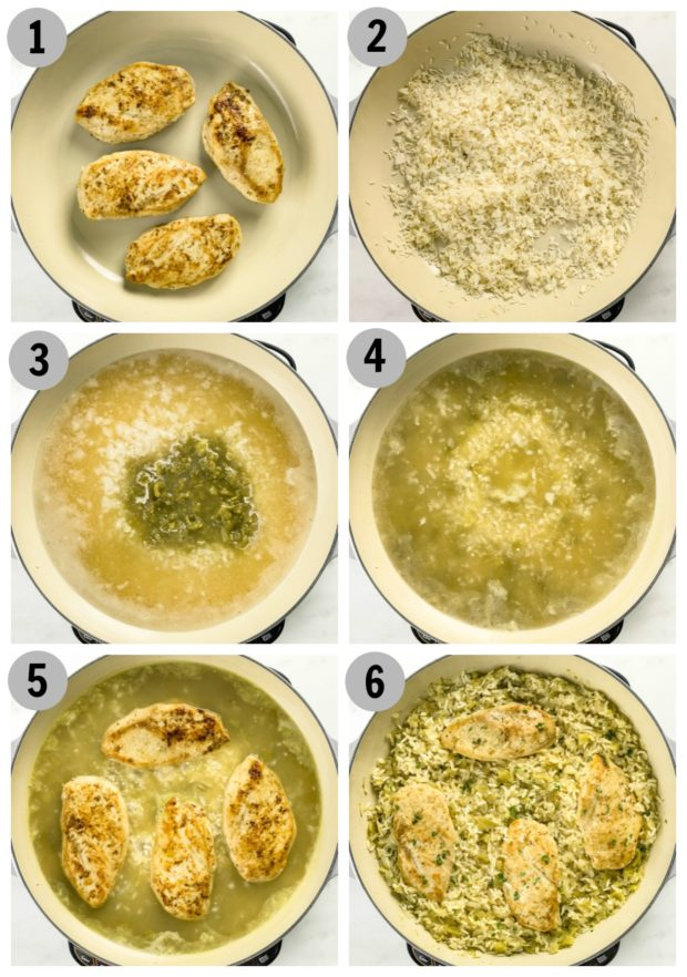 Overhead photo collage showing how to make cumin chicken step by step.
