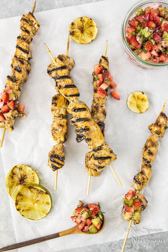 Honey-Balsamic Chicken Skewers with Strawberry Kiwi Jalapeno Salsa-14