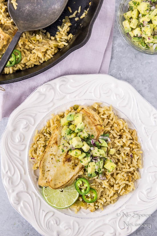 One Skillet Cumin-Lime Chicken and Rice with Avocado ...