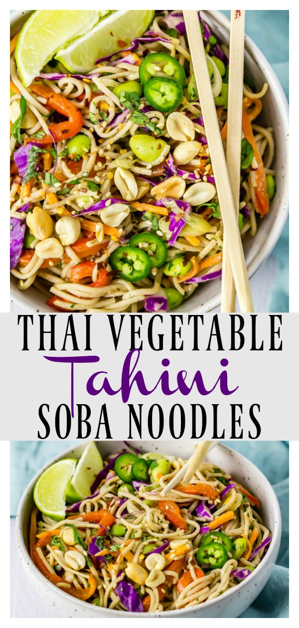 Thai Tahini Veggie Soba Noodle Bowls | Refreshing and cool, light yet satisfying these Noodle Salad Bowls are slurp-tastically delicious. Ready in 30 minutes or less these quick and easy bowls are perfect for lunch or dinner!#Vegetarian #Soba #noodles #salad #bowl #tahini #thai #quick #easy #recipe