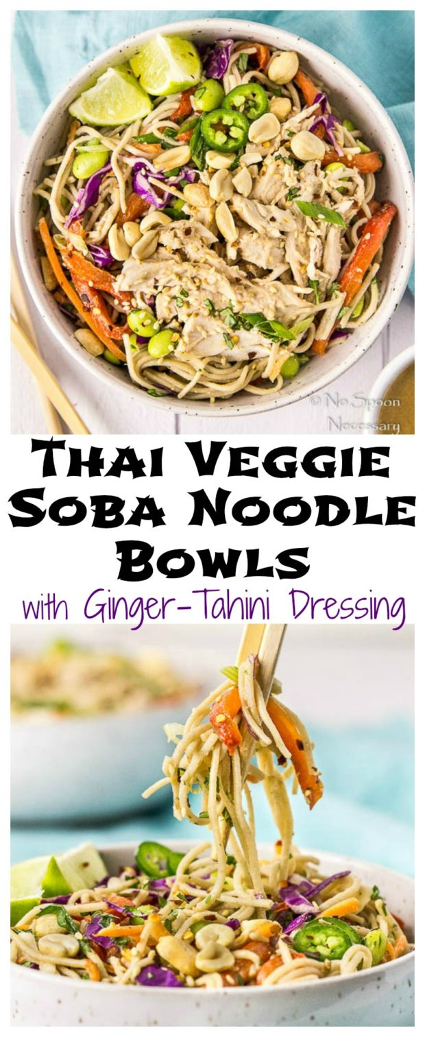 Thai Veggie Soba Noodle Bowls with Ginger-Tahini Dressing- long pin