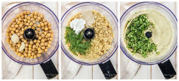 Overhead collage shots of the steps to make Tzatziki Hummus recipe.