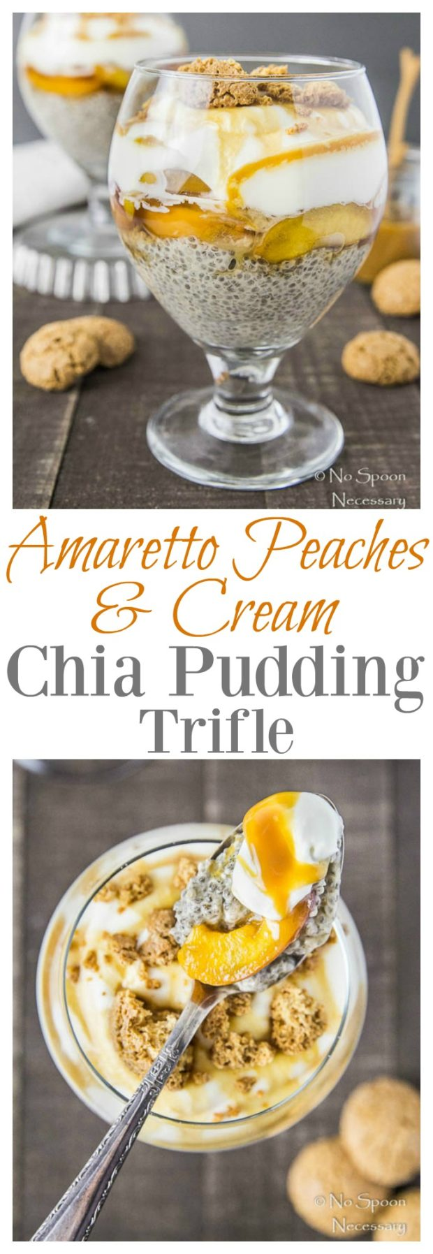 Amaretto Peaches & Cream Chia Pudding Trifle- long pin