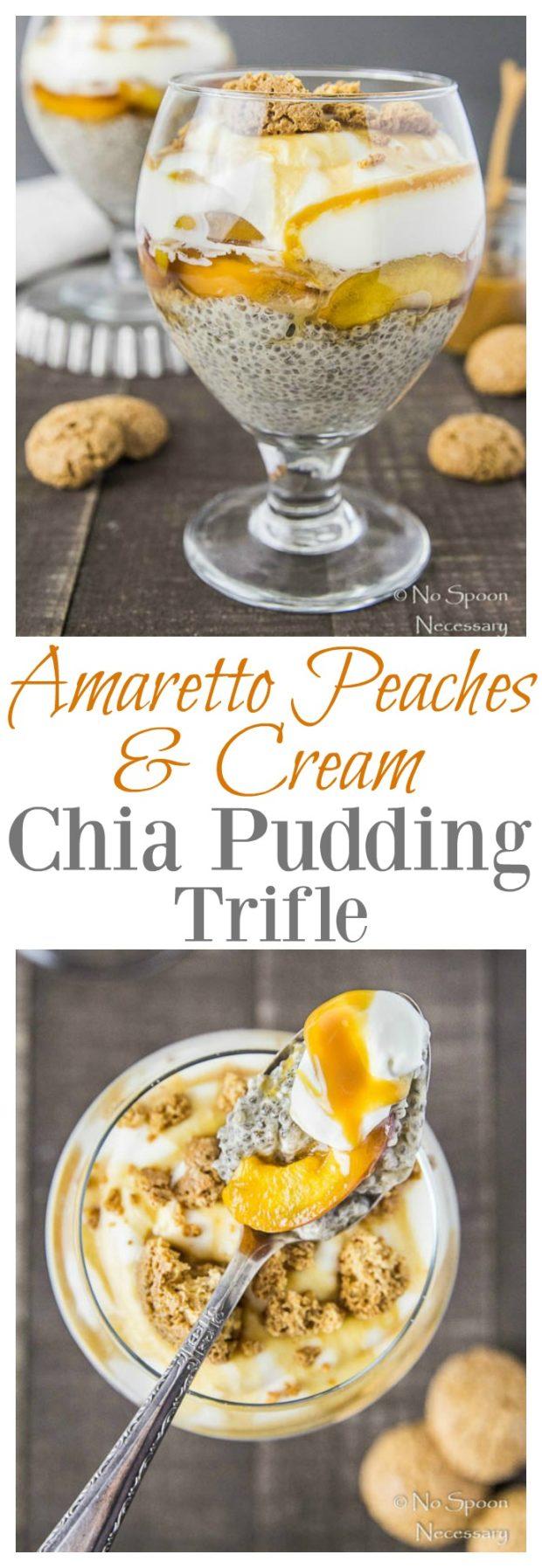 Amaretto Peaches & Cream Chia Pudding Trifle- long pin
