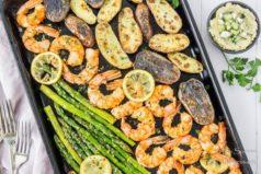 Sheet Pan Garlic & Lemon Shrimp, Asparagus & Fingerling Potatoes