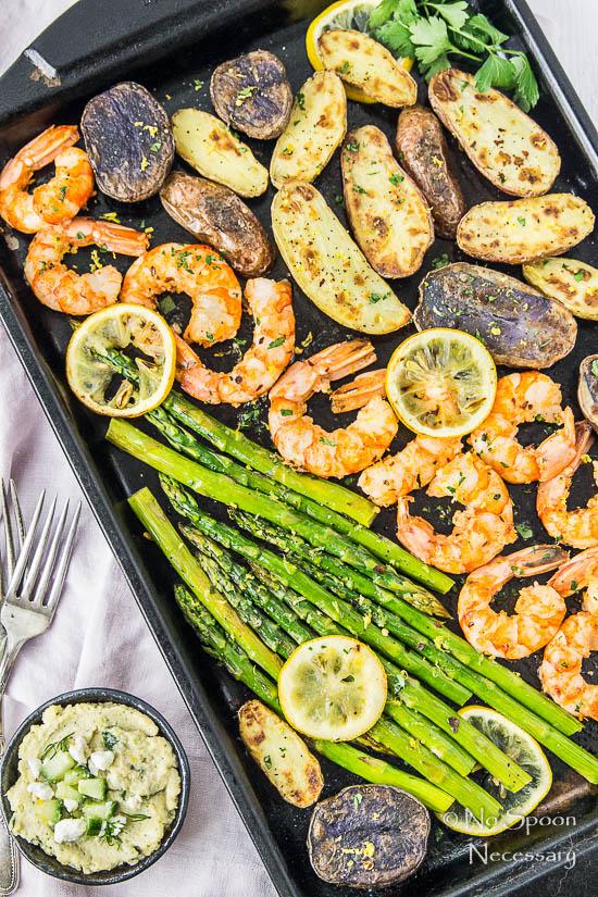 Sheet Pan Garlic & Lemon Shrimp, Asparagus & Fingerling Potatoes - No...