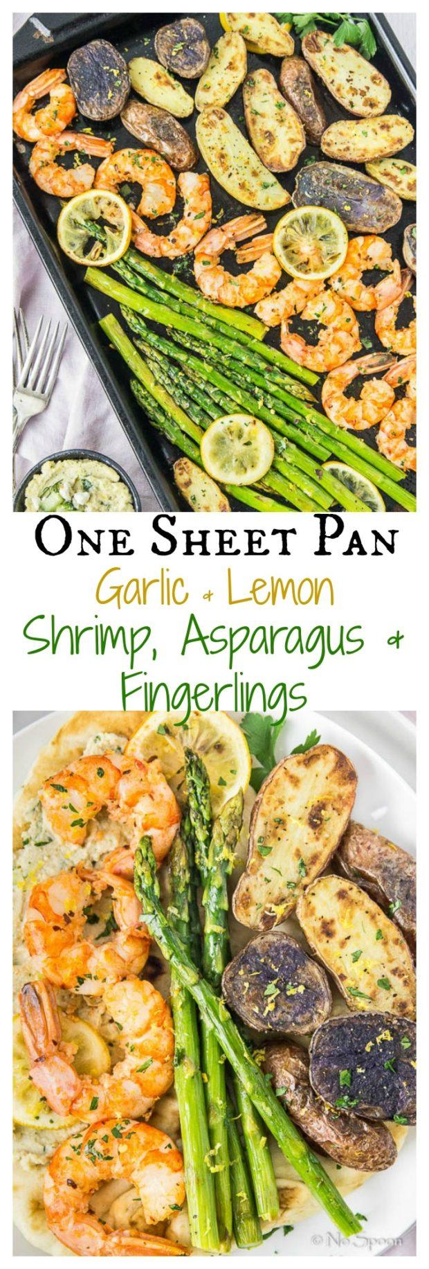 Sheet Pan Garlic & Lemon Shrimp, Asparagus & Fingerling Potatoes- long pin1