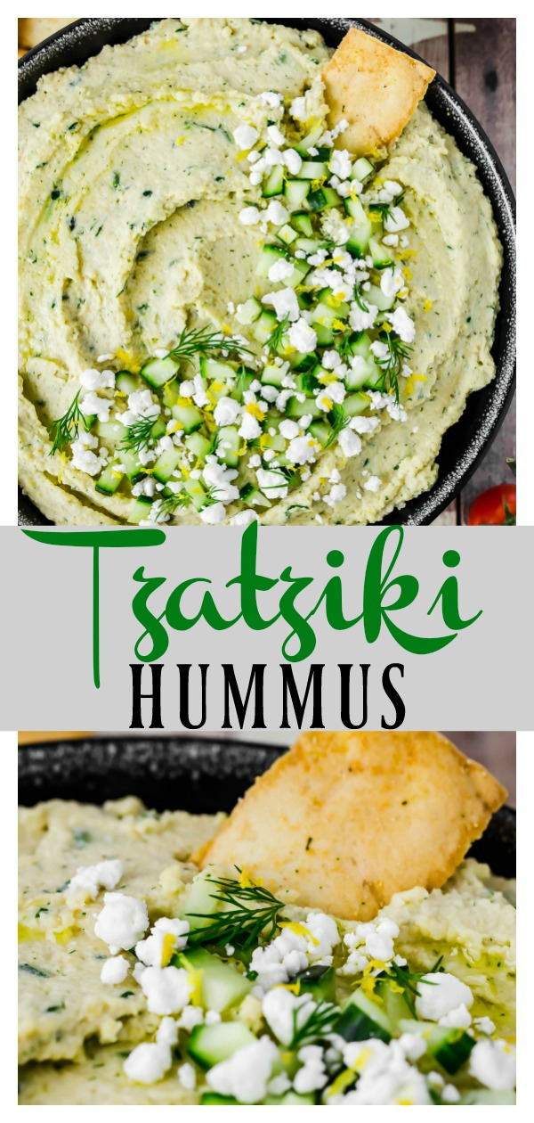 Tzatziki Hummus | This creamy, fresh hummus is a more savory, less tangy, thicker, and heartier version of tzatziki. If you like hummus and you like tzatziki, I can guarantee you will love this Tzatziki Hummus! #tzatziki #hummus #dip #appetizer #easy #quick #recipe #healthy #Greek