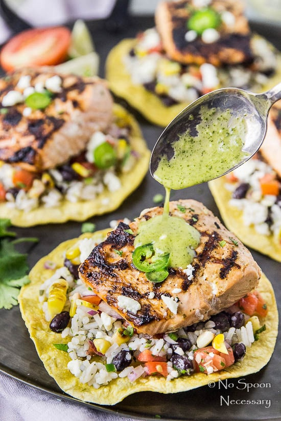 Grilled Mojo Salmon Tostada Platter-172A