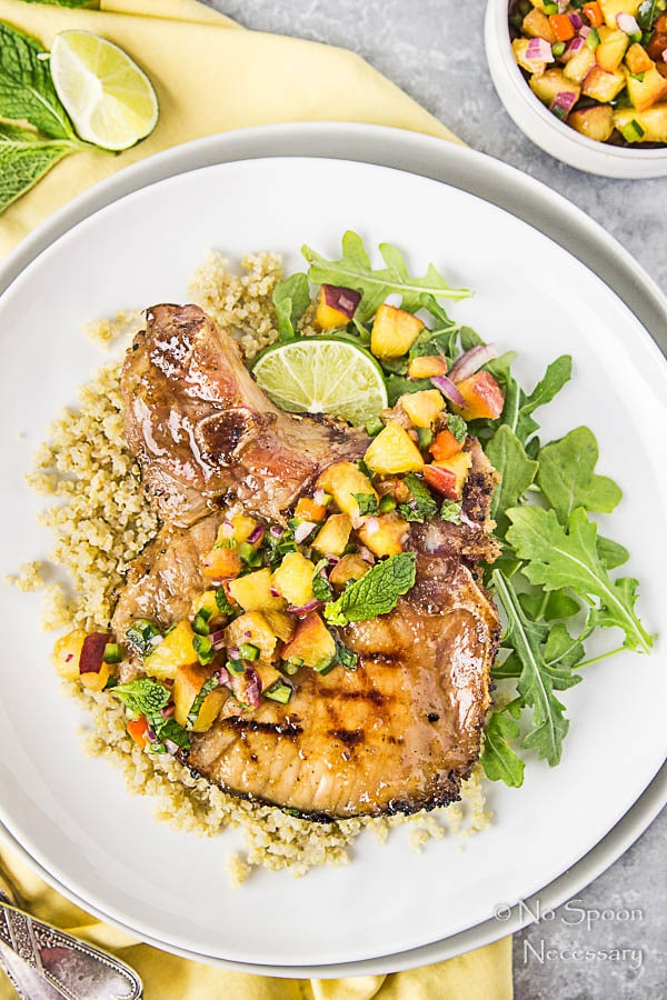 Ginger & Honey Glazed Pork Chops with Peach-Poblano Salsa-124