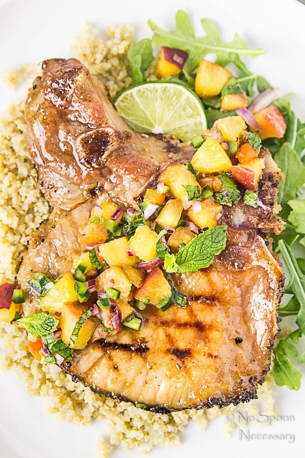 Ginger & Honey Glazed Pork Chops with Peach-Poblano Salsa-141