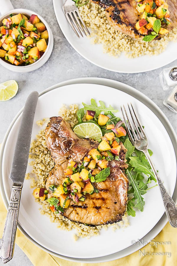 Ginger & Honey Glazed Pork Chops with Peach-Poblano Salsa-161