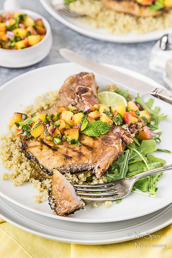 Ginger & Honey Glazed Pork Chops with Peach-Poblano Salsa-194