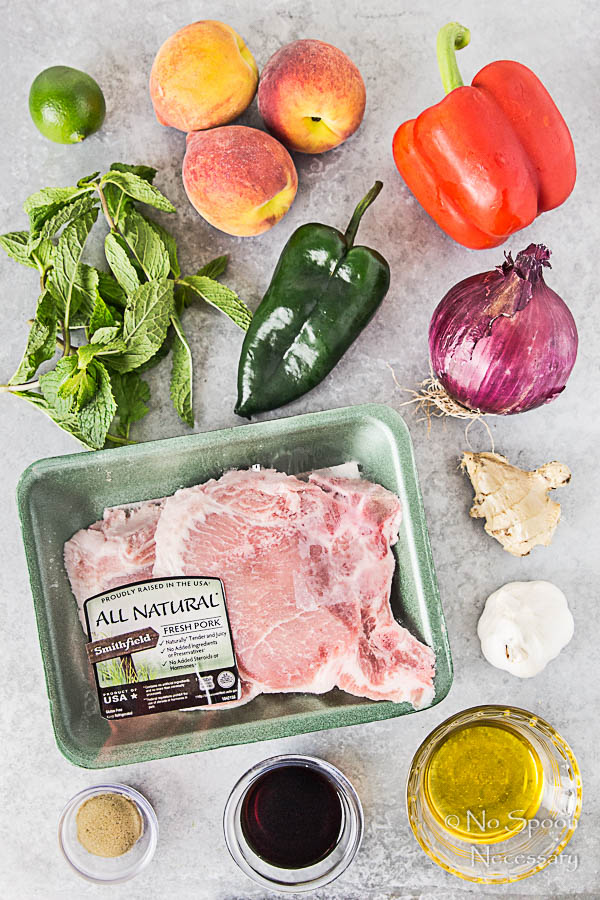 Overhead shot of all the ingredients necessary to make Ginger Honey Glazed Pork Chops with Peach-Poblano Salsa neatly organized on a light gray surface.