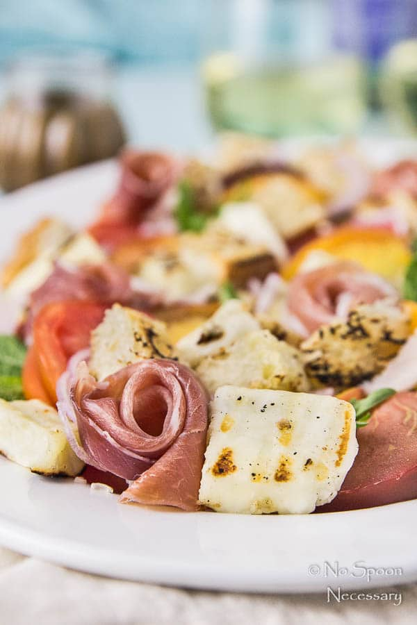 Grilled Halloumi & Peach Panzanella with Prosciutto-280