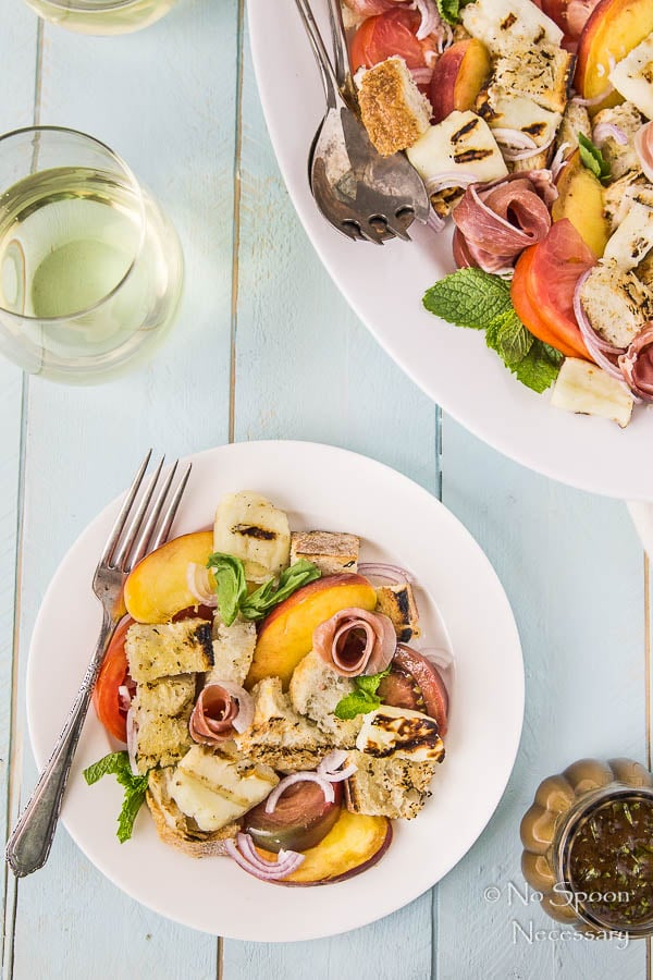 Grilled Halloumi & Peach Panzanella with Prosciutto-315