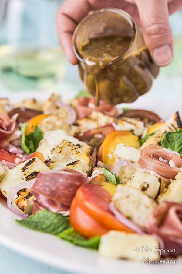 Grilled Halloumi & Peach Panzanella with Prosciutto-365