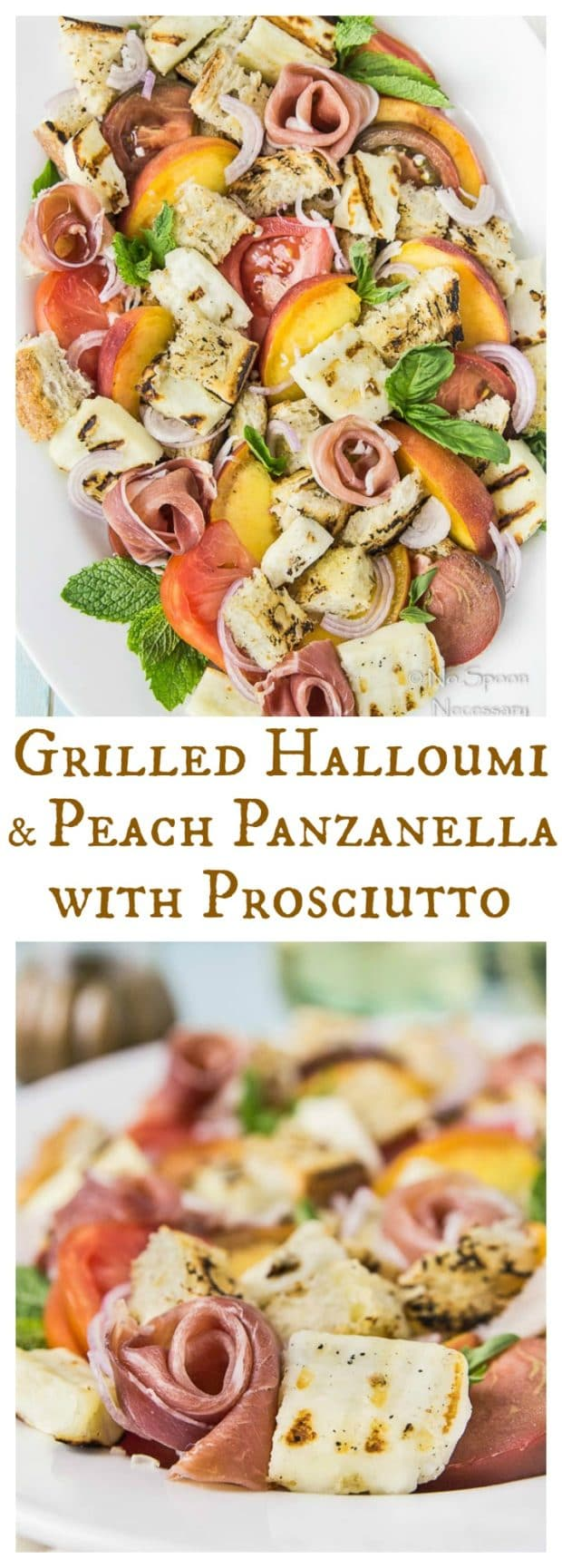 Grilled Halloumi & Peach Panzanella with Prosciutto-long pin2