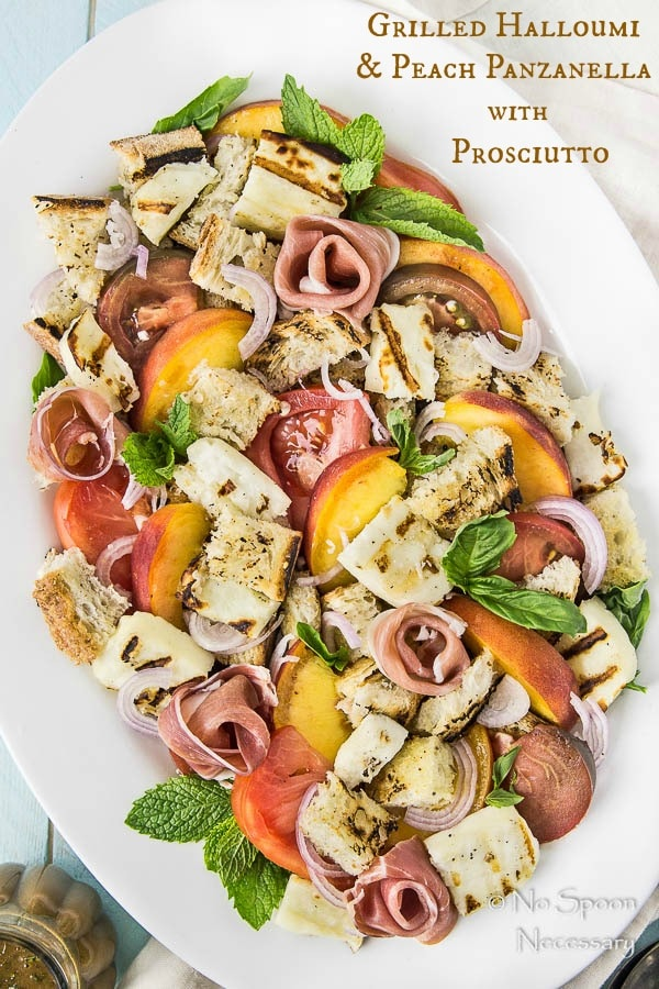Grilled Halloumi & Peach Panzanella with Prosciutto-short pin2