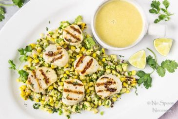 Grilled Scallops with Avocado & Corn Salsa {and Honey-Lime Vinaigrette}