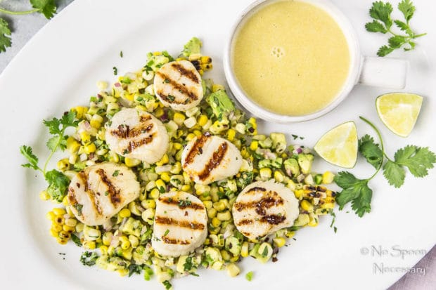 Grilled Scallops with Avocado-Corn Salsa-138