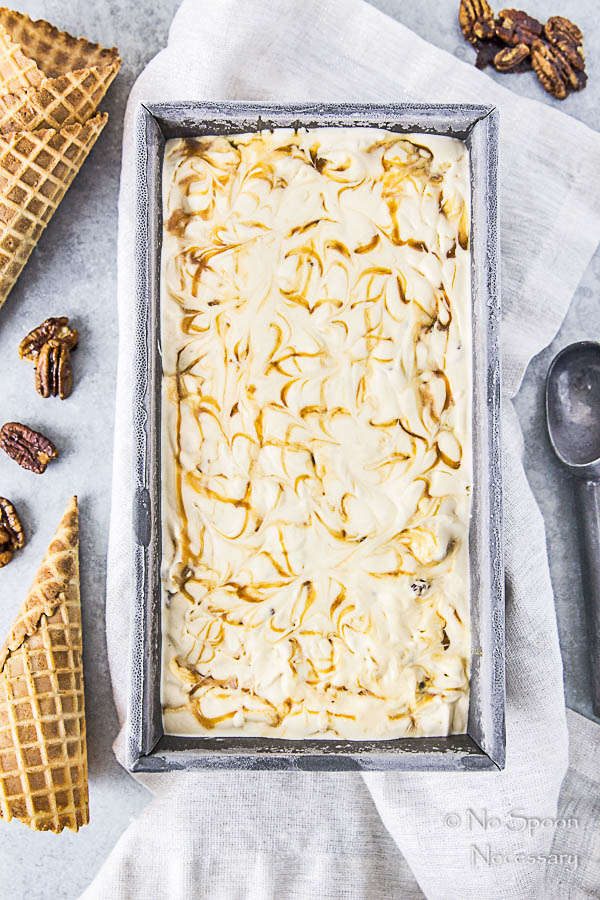 No Churn Salted Caramel Ripple Butter Pecan Ice Cream-8