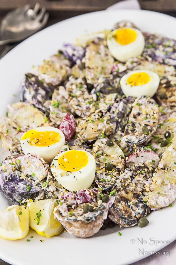 Everything Bagel Seasoned Grilled Potato Salad with 7 Minute Eggs-109