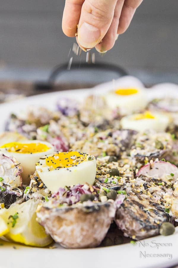 Everything Bagel Seasoned Grilled Potato Salad with 7 Minute Eggs-197